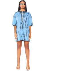 Public Desire Blue Ring Pull Tie Dye T-shirt Dress