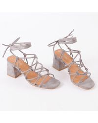 Public Desire - Freya Knotted Strappy Block Heeled Sandals In Grey Faux Suede - Lyst