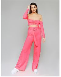 Public Desire Neon Pink Bardot Crop Top And Trouser Loungewear Set
