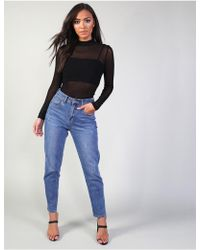 Public Desire Blue High Waisted Mom Fit Jeans