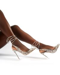 Public Desire Clarity Monochrome Snake Lace Up Perspex Stiletto Heels - Brown