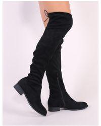 eaad70c2e5e Public Desire Alexus Thigh High Boots In Black Faux Suede in Black ...