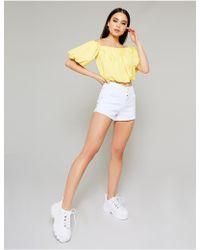 Public Desire White Ultimate Denim Shorts