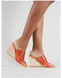 Public Desire - Maliboo Perspex Wedge In Neon Orange - Lyst