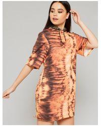 Public Desire Orange Oversized Hooded Tie Dye Dress