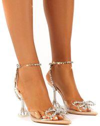 Public Desire Cinderella Nude Perspex Diamante Bow Heels - Natural