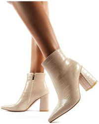 Public Desire Hollie Pointed Toe Ankle Boots In Nude Croc - Natural