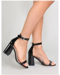 47271f19b12 Public Desire - Grier Block Heel Barely Theres In Metallic Black - Lyst