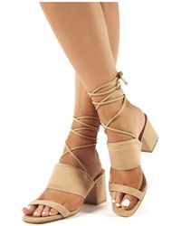 cad0eb47a8e Maddie Nude Lace Up Mid Block Heels - Natural