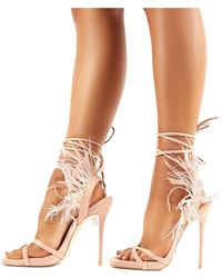 Public Desire Lexis Nude Feather Lace Up Stiletto High Heels - Natural