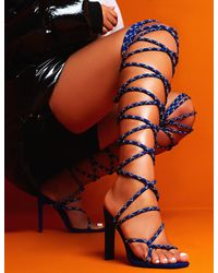 Public Desire Losin' It Blue Extreme Lace Up Set Back High Heels