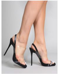 1f3f047a565 Lyst - Public Desire Matcha Perspex Strappy Block Heel In Black in Black