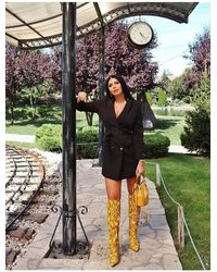 Public Desire Nicole Yellow Snakeskin Slouch Knee High Boots