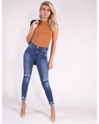 Public Desire Blue High Waisted Skinny Jeans With Slashed Knees