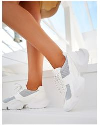 Public Desire Lissy Roddy X Pd Casj White And Grey Chunky Trainers