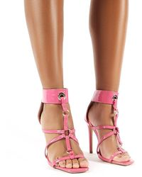 Public Desire Sahara Pink Patent Strappy Stiletto Heels