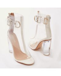 Public Desire - Glazed Buckled Perspex Boots In White Patent - Lyst