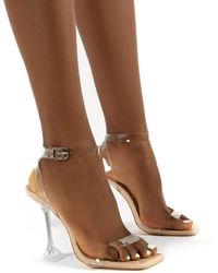 Public Desire Yasmyn Nude Patent Perspex Clear Strap Heels - Multicolor