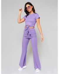 Public Desire Lilac Tie Front Top And Trouser Co-ord - Purple