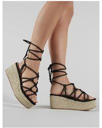 Public Desire Sasha Black Rope Espadrille Flatform Sandals
