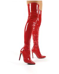 Public Desire Ruthless Red Patent Over The Knee Boots