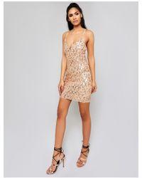 Public Desire Rose Gold Cami Sequin Mini Dress