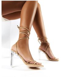 bc5eeb0219c Amplify Lace Up Perspex Heels In Nude - Natural