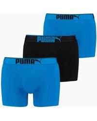 PUMA Premium Katoensuède Boxers 3-pak - Blauw