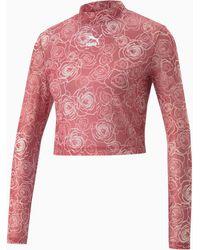 PUMA Bedrukt Mesh T-shirt Met Lange Mouwen Voor Dames - Rood