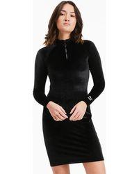 PUMA Langärmliges Bodycon Kleid aus Velours - Schwarz