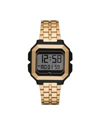 PUMA Remix Gold Stainless Steel Digital Watch - Metallic