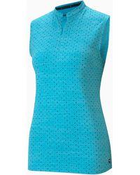 PUMA Cloudspun Polka Mouwloos Golfpoloshirt Dames - Blauw