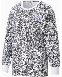 PUMA X Mr Doodle Printed Damessweater Met Ronde Hals - Wit