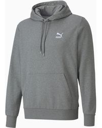 PUMA Classics Embroidered Long Sleeve Men's Hoodie - Gris