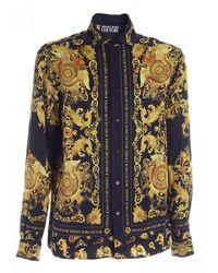Versace - Camicia nera con motivo Rococo B1GWA6R3S0273 899 - Lyst