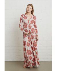 Warehouse Long Sleeve Full Length Caftan Dress - Red