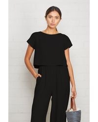 Rachel Pally Cropped Linen Keith Top - Black