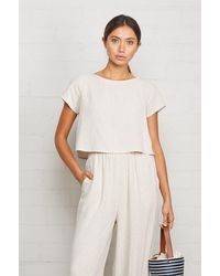 Rachel Pally Cropped Linen Keith Top - Natural