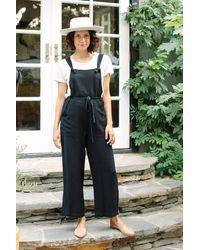 Rachel Pally Linen Tao Overalls - Black