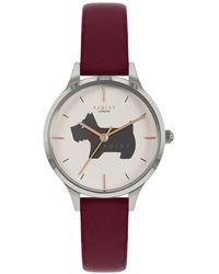 Radley Meridan Place Red Leather Strap Watch With Dog Print Dial