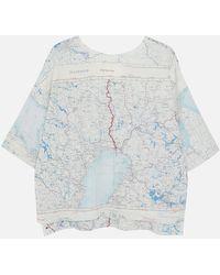 RÆBURN 1950s Silk Map T-shirt - Multicolour