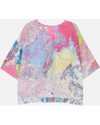 RÆBURN Silk T-shirt Multi Map - Blue