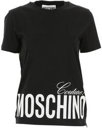 Moschino Camiseta asimétrica con logo estampado - Negro