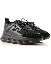 Versace Chain Reaction Leather And Mesh Trainers - Black
