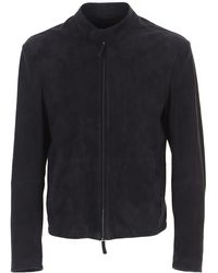 Emporio Armani Leather Jacket For Men - Blue
