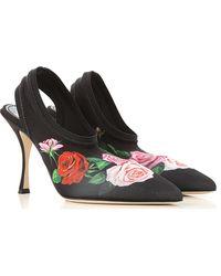 Dolce & Gabbana Mules con estampado de rosa - Negro
