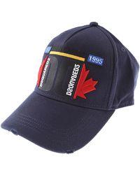 DSquared² Herren Snapback cap CARGO Gabardine Logo Stickerei Patch blau