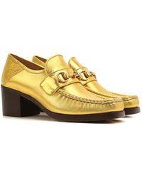 afc1c848b91 Lyst - Gucci Embellished Heel Loafer in Black