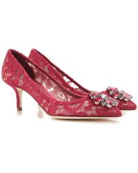 Dolce & Gabbana Bellucci Embellished Lace Pumps - Red