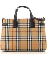 Burberry - Small Check Banner Tote Bag - Lyst